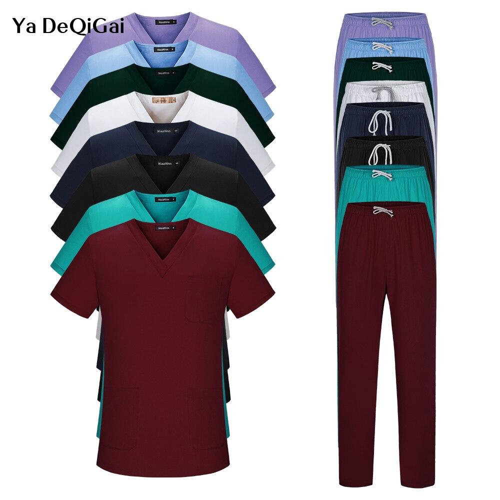 Unissex roupas cirúrgicas de manga curta masculino e feminino médicos ternos dividir escova uniforme várias cores terno farmacêutico conjuntos de trabalho