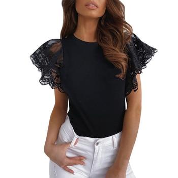 Novedad en camiseta de manga corta con volantes de encaje de verano para mujer, blusa holgada de mujer, Top informal con cuello redondo