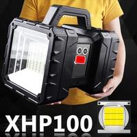 XHP100-Luz LED superbrillante recargable por Usb, reflector de doble cabeza, linterna de mano, foco de trabajo, linterna de inundación XHP70