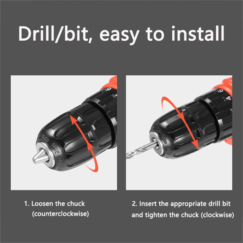 Image 5 - 2 Battery Hand Drill Cordless Electric Impact Power Drills Screwdriver Rotary Tools For Woodworking 12V-in Electric Drills from Tools