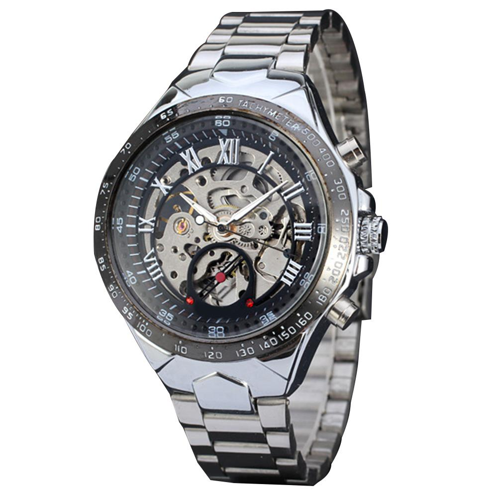 Men's Luxury Steampunk Hollow Stainless Steel Automatic Mechanical Wrist Watch Mas-culino Fashion Men's Watch Large Dial Militar