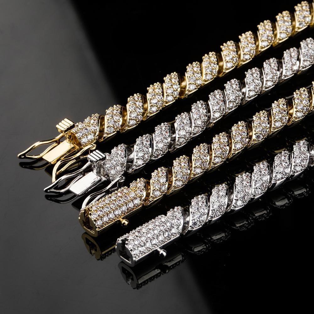 Mega Deal Afc6 Gucy 10mm Men Zircon Curb Cuban Link Necklace