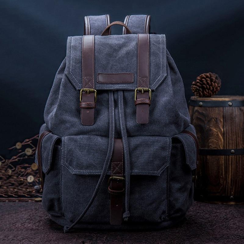 Men Backpacks Japanese Korean Canvas Bag Retro Denim Backpack Multifunctional Casual Street Travel Backpack Student School Bag