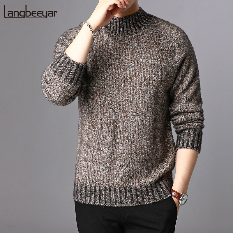 2019 New Fashion Brand Sweater For Mens Pullovers Half Turtleneck Slim Fit Jumpers Knit Autumn Korean Style Casual Men Clothes