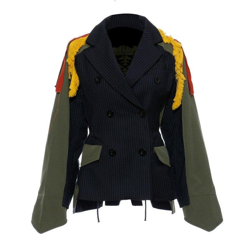 Womengaga 2019 outono e witner nova moda curto jaqueta feminina borlas divisão conjunta coloração grupo combinar bordado dg108