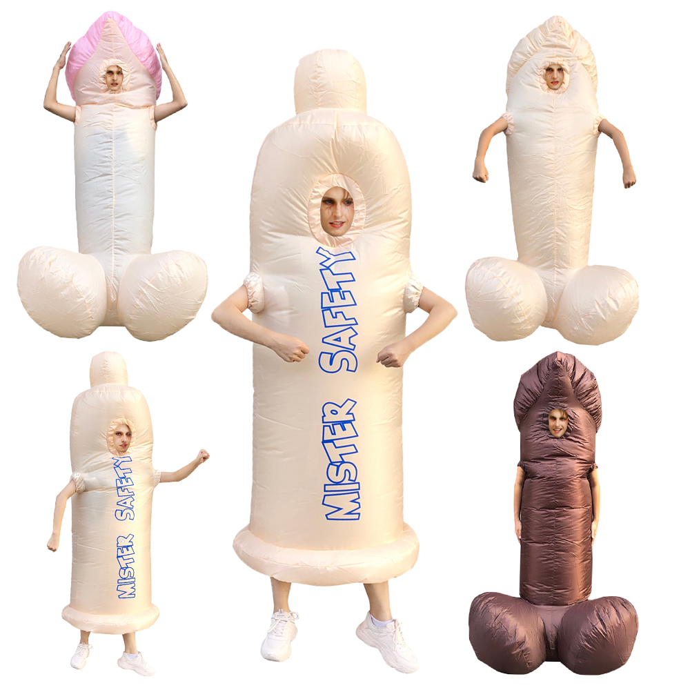 Hot Adult Inflatable Penis Costume Carnival Party Costumes Suit Halloween Costume For Adult Men Women Free Shipping