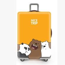 Fashion Travel Accessories Cartoon Big White Bear Luggage Cover High Elasticity Organizer Tag