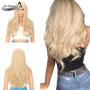 Peluca sintética de cuerpo largo de MS FLEGANCE de fibra sintética resistente al calor con pelo Natural peluca para mujer a diario