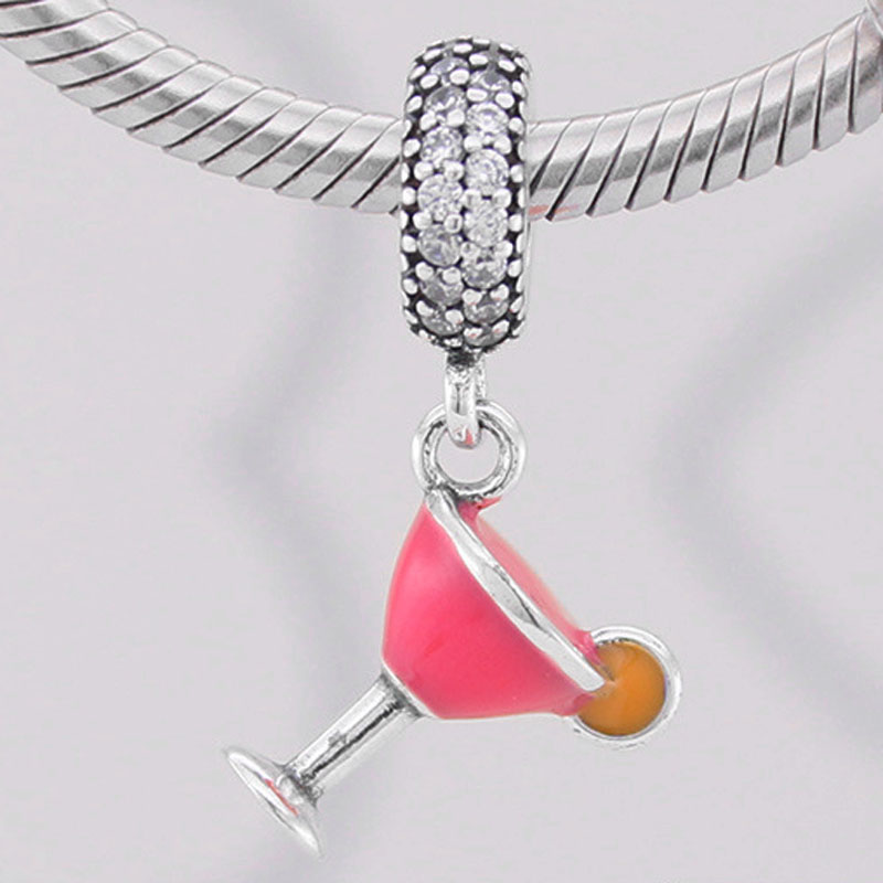 Original Pink Enamel Cocktail Glass With Crystal Pendant Beads Fit 925 Sterling Silver Bead Charm Pandora Bracelet DIY Jewelry(China)