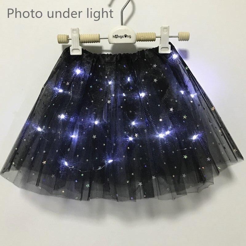 2021 New Light LED Girl Kids Clothes Star Tutu Skirt Princess Party Tulle Pettiskirt Child Ballet Dance  Children  Skirt 4