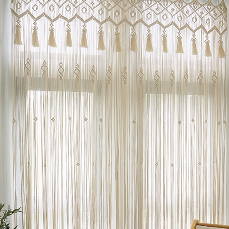 Free Transit White Curtain with  Tassel Suit for Home Indoor Wedding Decor and Window Door  Wall Hanging Macrame