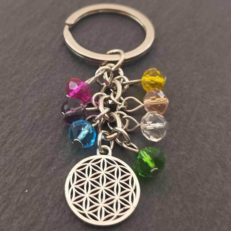 Moda Multicolor Yoga piedra curativa Natural 7 Chakra rezar llavero coche llavero con anilla búho corazón colgante para bolsa