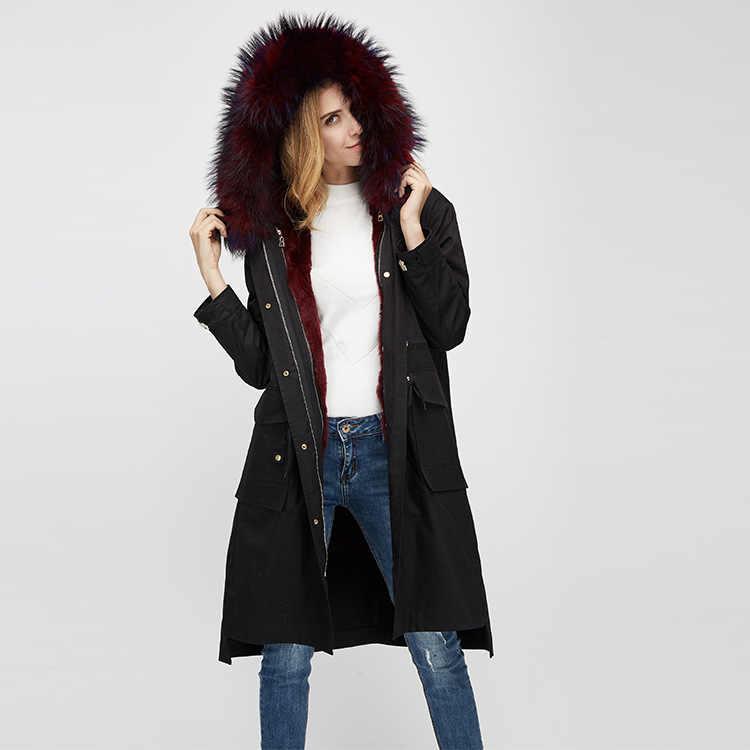 2019 義烏新新鮮なファッショナブルなアライグマの毛皮の襟レックスウサギの毛皮ライナーパーカーコートウォームコートで冬の女性のキャップコート