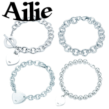 Ailey original high quality 925 sterling silver Tiff heart bracelet classic elegant fashion ladies jewelry couple gifts