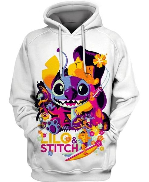 PLstar Cosmos Anime Cartoon Lilo Stitch 3d Hoodies/Sweatshirt Winter Autumn Funny Long Selvee Harajuku Streetwear