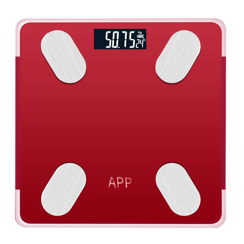 Red Rechargeable Bluetooth APP Android IOS Smart Human Body Electronic Scale Grease Meter Measure Room Temperature Setting Diet|Bathroom Scales| |  - title=