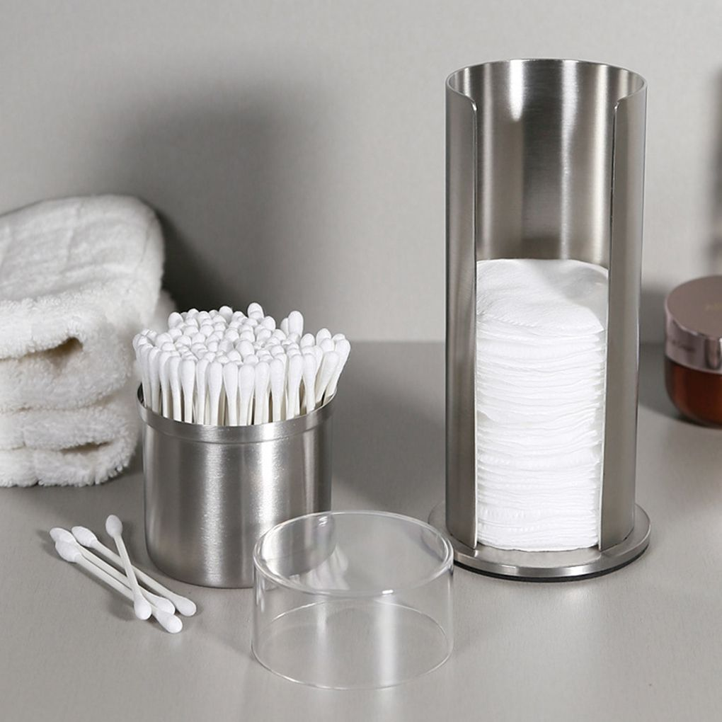 Pad Container Cotton-Swab-Organizer Make-Up-Remover Stainless-Steel Dispenser Round Double-Layer