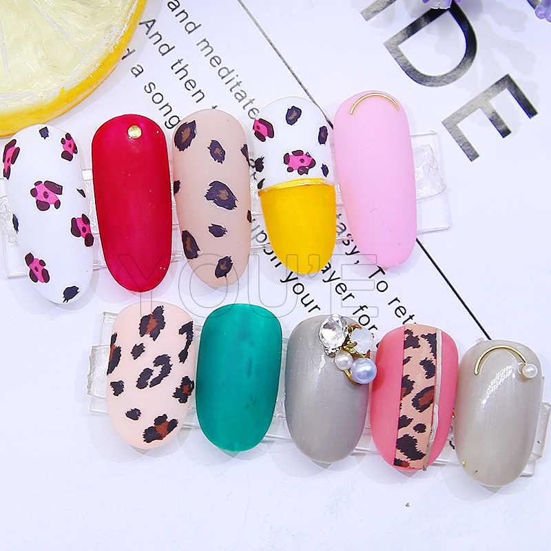 Adesivos para manicure e nail art 3d, adesivos autocolantes para decoração de unhas, leopardo, diy nova varal