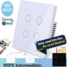 (Não há necessidade neutra) wifi toque interruptor de parede luz vidro branco azul led casa inteligente controle telefone 4 gang 2 vias alexa google casa