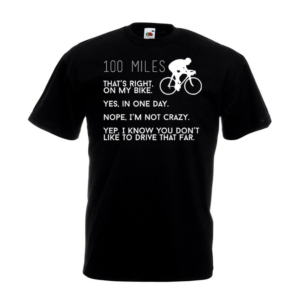 100 Miles T Shirt Funny Bike Century Road Race Fathers Day Birthday Gift Top