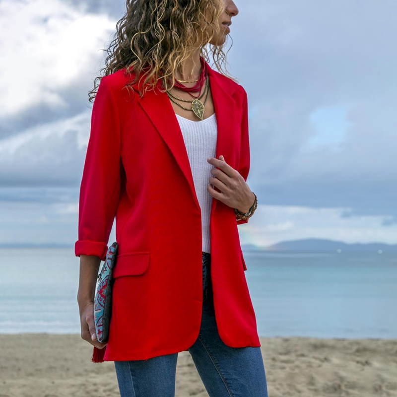 Fashion Women Blazer Office Ladies Slim Solid Color Jackets Long Sleeve  Pocket Small Blazer Black XL #E
