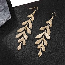 New 2019 Fashion Fishtail Long Drop Earrings For Women Vintage Alloy Metal Gold Silver Dangle Earring Ladies Party Jewelry Gifts transgems 14k 585 white gold 1 5mm f color moissanite drop earring for women engagemet anniversary party dangle ladies earring