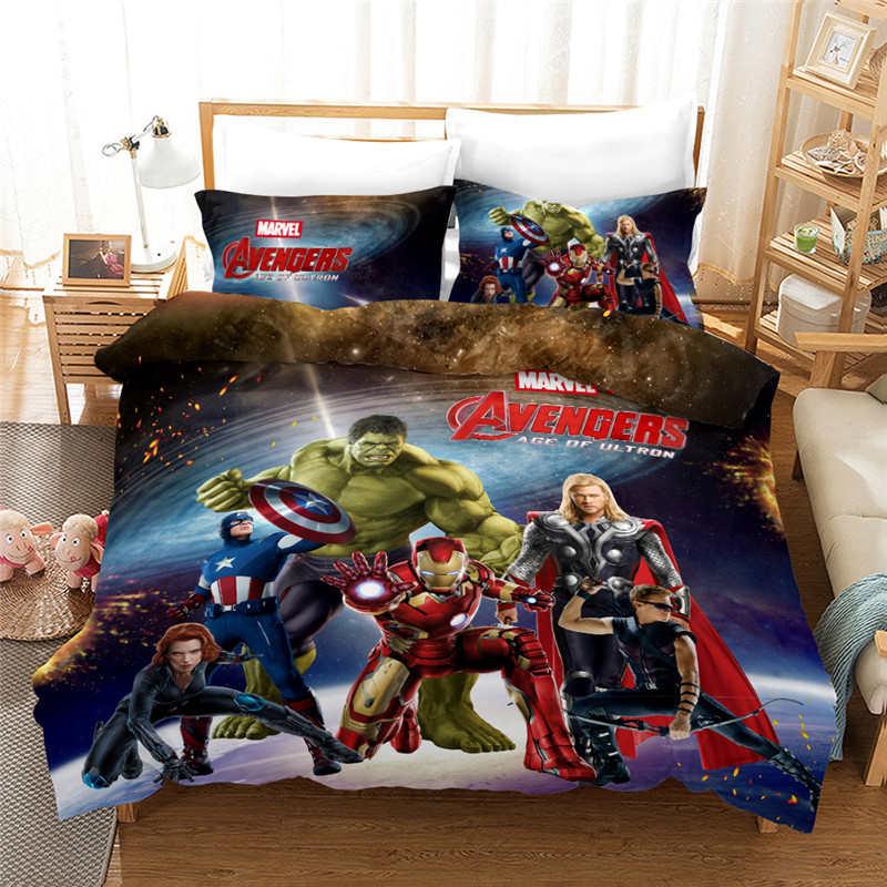 the avengers heroes bedding set hulk iron man captain america thor quilt duvet cover 3 pcs for kids bedroom decoration bed linen