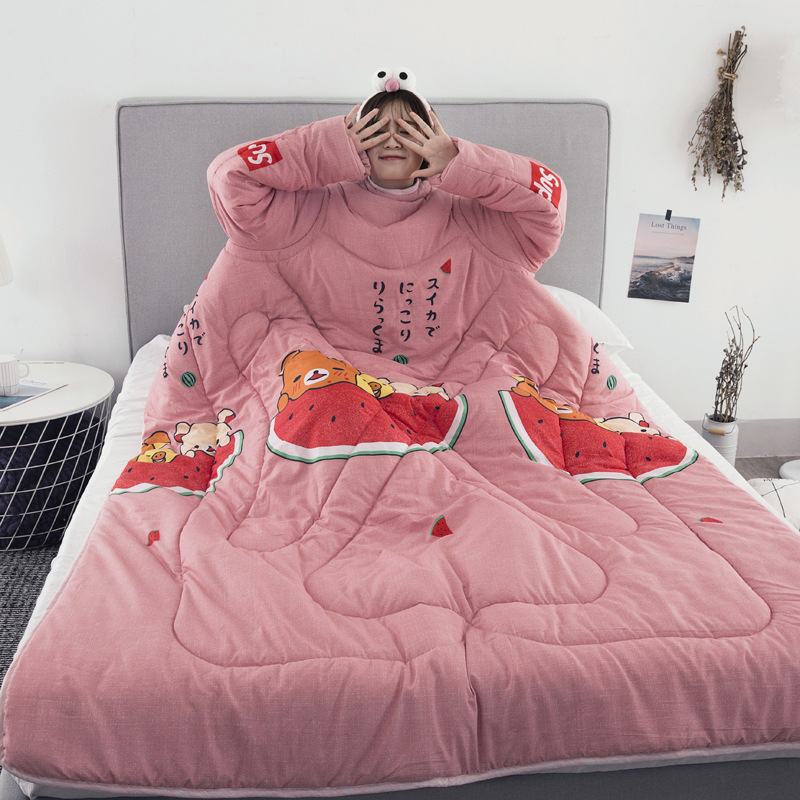 Winter Comforters Lazy Quilt with Sleeves Family Throw Blanket Hoodie Cape Cloak Nap Blanket Dormitory Mantle Covered Blanket 14