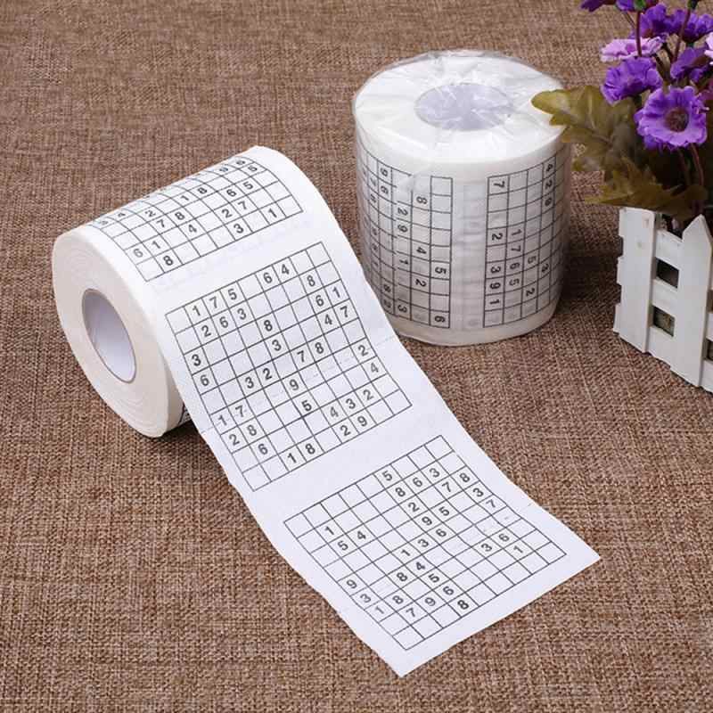 New 1 Roll 2 Ply Number Sudoku Printed Home Kitchen Portable Simple Fibres Tissue Solid Container Stylish Bamboo Cover Hotel