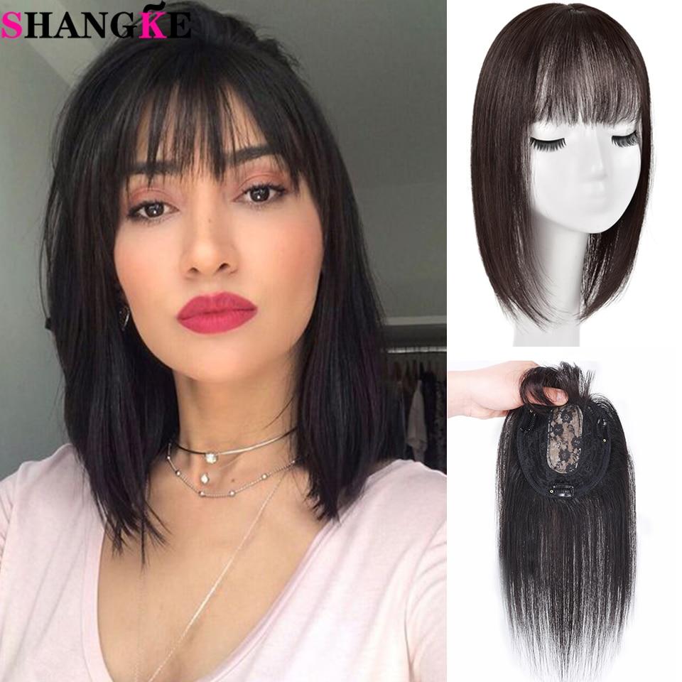 SHANGKE 100% capelli umani Topper chiusura lunga Clip di capelli lisci In estensione dei capelli Toupee nero marrone capelli con frange naturali