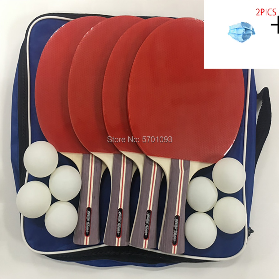 Ping Pong Hot Sale 4 Players Professional Table Tennis Racket Ping Pong Paddle Set With 8 Balls