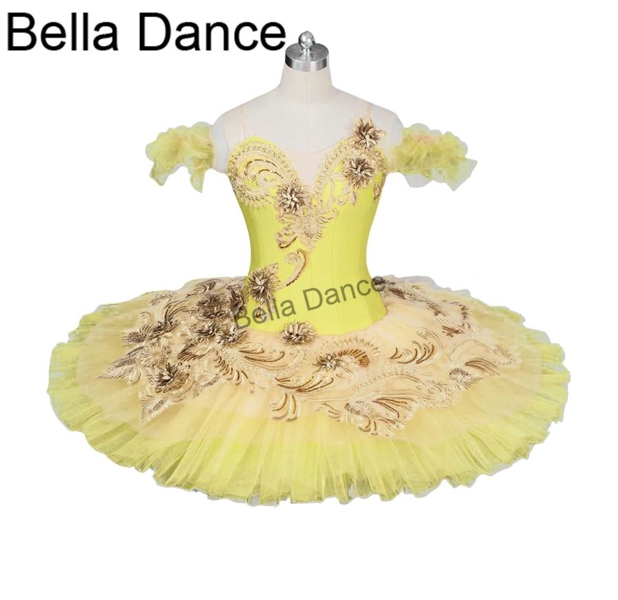 Adult Canary Fairy Professional Ballet Tutu Yellow Gold Platter Plate Tutu  Performance Classical Ballet Costume  Women BT9024