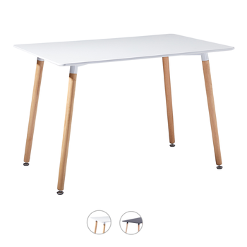 Dining Table Kitchen Modern Rectangle Solid Wooden Legs for Room Living - White/Black, 110 x 70 73cm