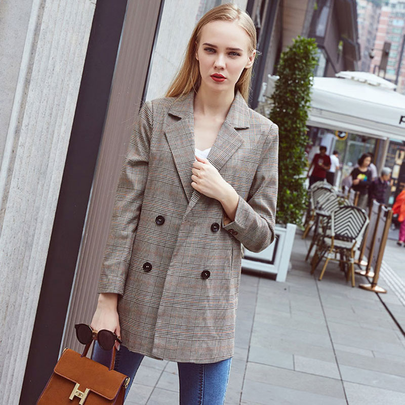 Vintage Double Breasted Office Ladies Plaid Blazer Long Sleeve Loose Houndstooth Suit Coat Jacket Women blazers Female 2020