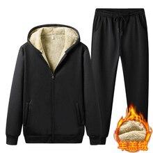 Tracksuit Sportswear Velvet Winter Hooded-Sets Zipper Men Casual Mens Warm Thick Plus