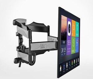 "Image 1 - 2019 חדש NB P5 אוניברסלי מלא תנועה 32 "" 60"" LCD טלוויזיה קיר הר סוגר 6 זרוע חזק 36.4kg 400X400 עם כבל כיסוי מסתובב pivot"