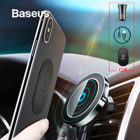 Baseus Car Qi Wireless Charger Holder For iPhone 11 X 8 8Plus Magnetic 360 Rotation Charging Car Mount Auto Phone Stand Support