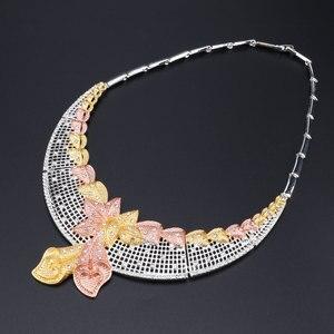 Image 3 - Di modo Africano Set di Gioielli di Marca Dubai Argento Placcato la Collana di Cristallo Dei Monili Degli Orecchini Set Nigeriano di Perle Da Sposa Insieme Dei Monili