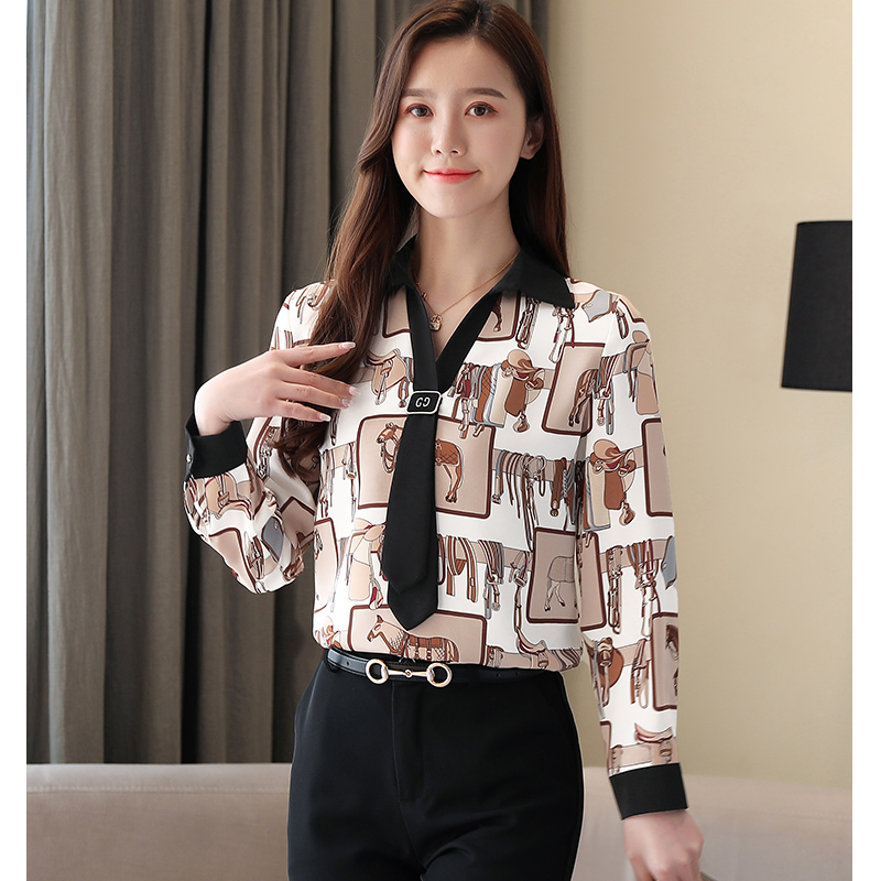 Women Blouses 2020 Fashion Womens Shirts Long Sleeve Woman Fashion Print Shirt Top Women Shirts and Blouses