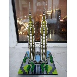 Image 3 - Construcción de la torre Petronas para niños, 057 YZ, arquitectura de fama mundial, modelo 3D, minibloques de diamante, juguete de construcción para niños, sin caja