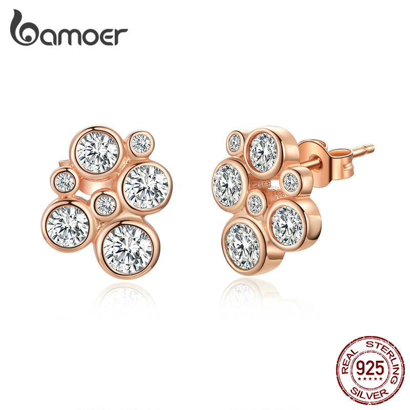 Bamoer  Clear CZ Bubble Stud Earrings For Women Rose Gold Color 925 Sterling Silver Wedding Statement Jewelry Brincos SCE810