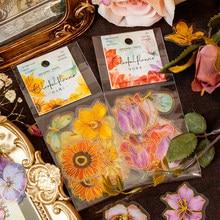 Autocollants animaux de compagnie dorés à fleurs colorées, étiquette Scrapbooking, bâton décoratif, mignon papillon pour Album journal intime, papeterie, 30 pièces