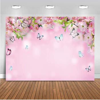 Spring Pink Themed Backdrop Butterfly Peach Blossom Flowers Photo Background Photography Children Baby Birthday Party