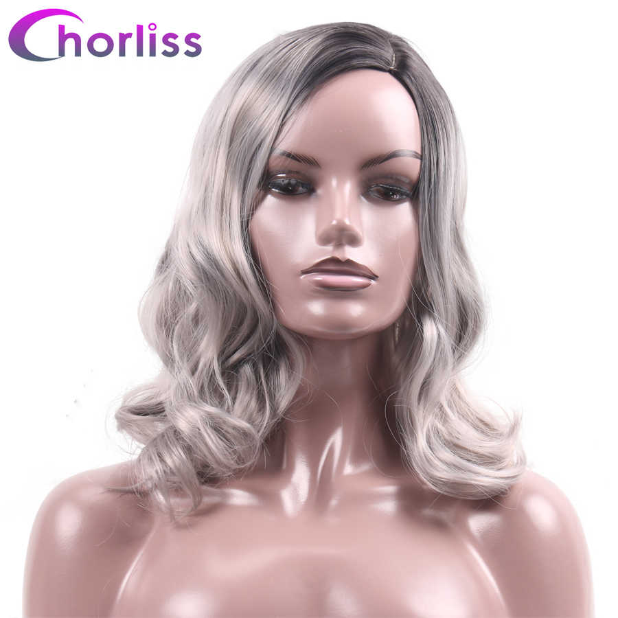 Synthetic Short Wavy Side Part Wigs For Black White Women Chorliss 16'' Ombre Dark Root Gray Cosplay Wigs Heat Resistant Hair