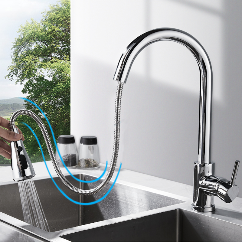 Kitchen Faucet Pull-Out Water-Mixer Tap Nickel Single-Hole-Handle Swivel Dfrkjhre 360-Degree