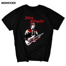 Verão dire straits música rock camiseta marca topos
