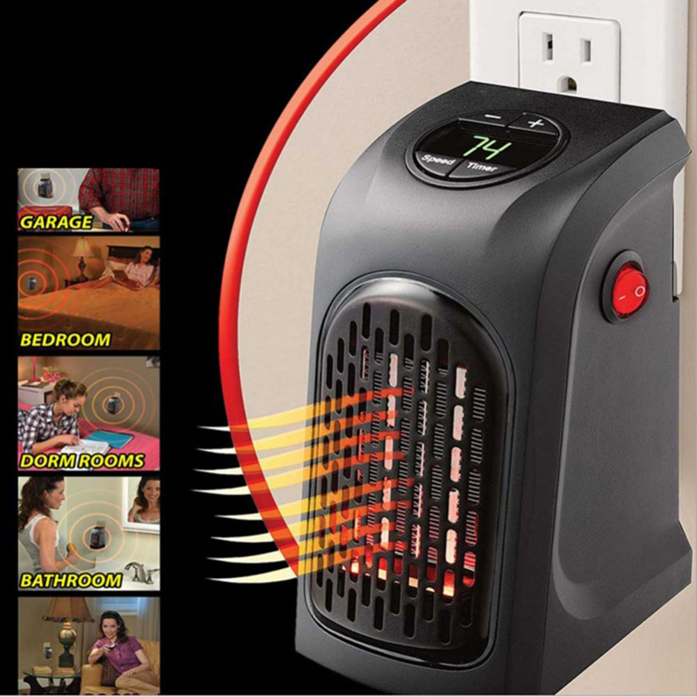 Electric Wall Heater Mini Portable Personal Space Warmer For Indoor Heating Camping Any Place Adjustable Thermostat