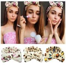 Diademas de cara de lavado de leopardo para mujer, lazo de Coral blando, banda elástica Cabello, turbante, accesorios de fiesta para niña