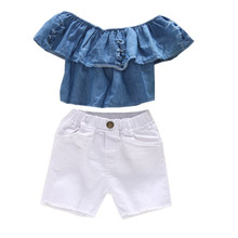1-5Y baby girl clothes set summer baby girl set off the shoulder denim blue crop top+white shorts jeans twins matching outfit цены онлайн