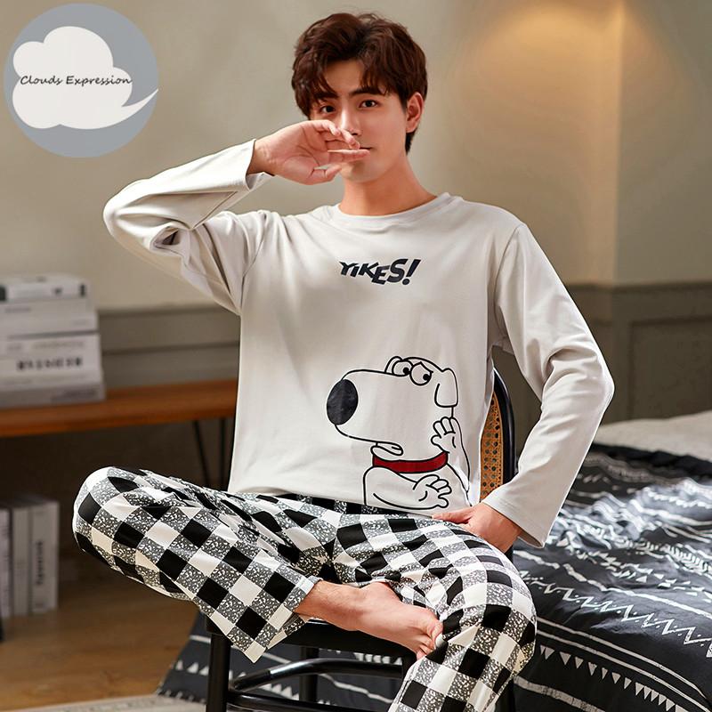 Autumn Winter Men's Cotton Pajamas Letter Striped Sleepwear Cartoon Pajama Sets Casual Sleep&Lounge Pyjamas Plus Size 3XL Pijama